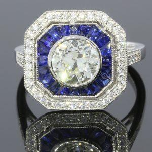 Blue-&-Transparent-Diamond-Ring