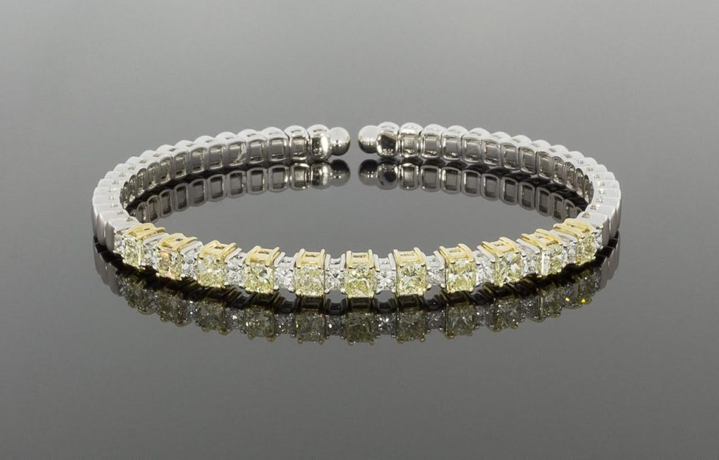 Canary Yellow and White Diamond Bracelet